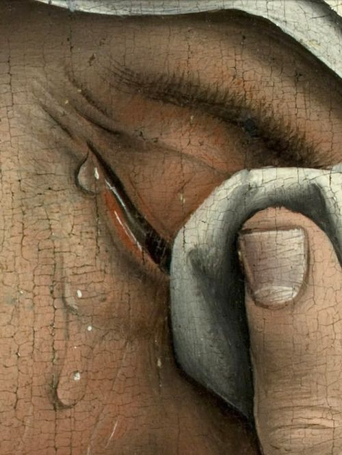 Descent from the Cross -Deposition- 1435 (Detail women left) Rogier van der Weyden.