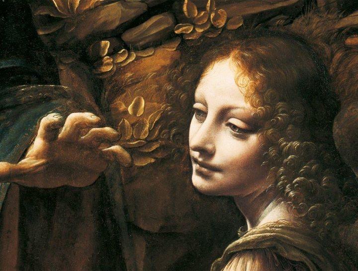 Particolare della Vergine delle Rocce di Leonardo da Vinci 1483-1486