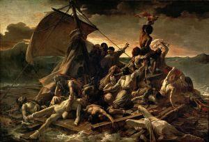 """Jean Louis Théodore Gericault  """" La zattera della medusa """" 1818-1819. Olio su tela, 491×716 cm. Parigi, Museo del Louvre."""