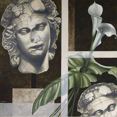 """"""" Arte e natura """" n° 1 olio su tela 100 x 100 anno 2009 AMALIA DI SANTE"""
